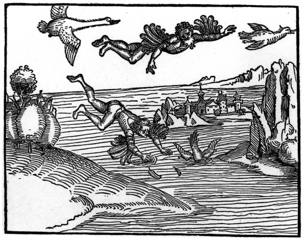 A.Duerer, Sturz des Ikarus - A.Duerer / The Fall of Icarus / Wood cut - A. Duerer, La Chute d'Icare